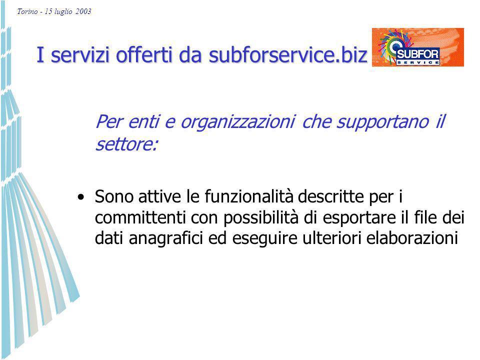 Torino - 15 luglio 2003 Alcuni dati economici sulle imprese presenti in subforservice.biz