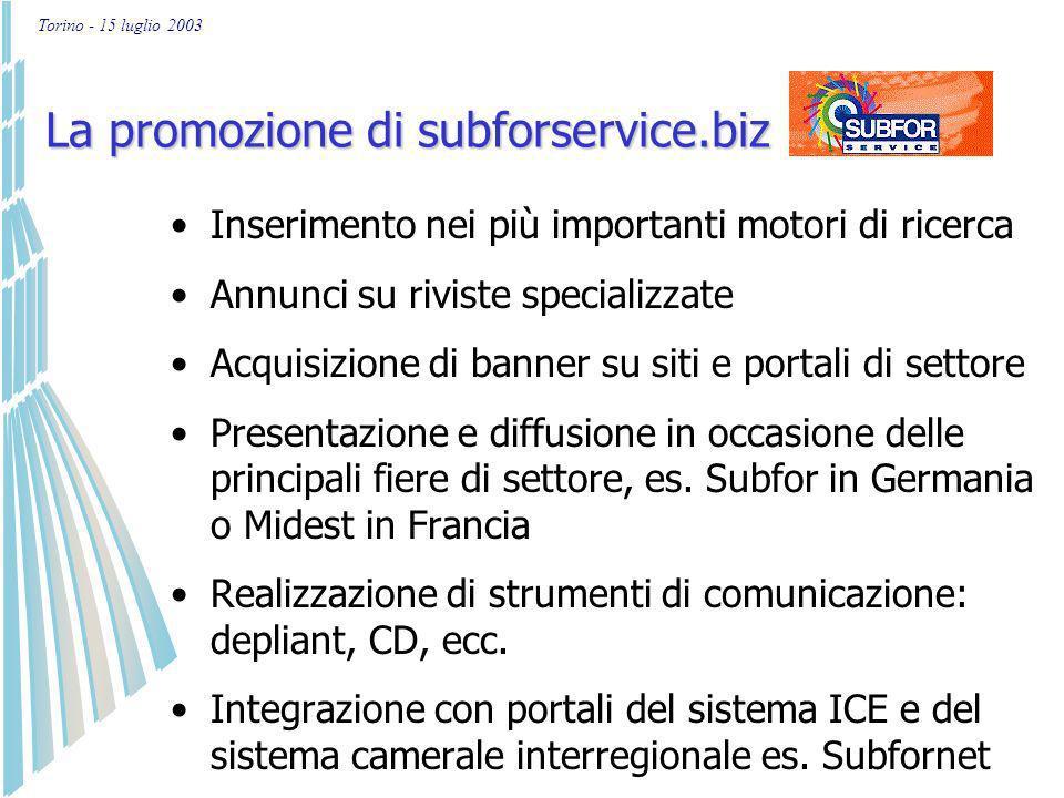 Torino - 15 luglio 2003 I servizi offerti da subforservice.biz Per enti e organizzazioni che supportano il settore: Sono attive le funzionalità descritte per i committenti con possibilità di esportare il file dei dati anagrafici ed eseguire ulteriori elaborazioni