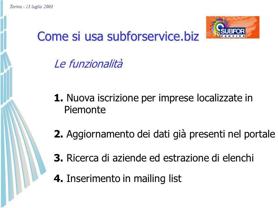 Torino - 15 luglio 2003 La promozione di subforservice.biz Inserimento nei più importanti motori di ricerca Annunci su riviste specializzate Acquisizi