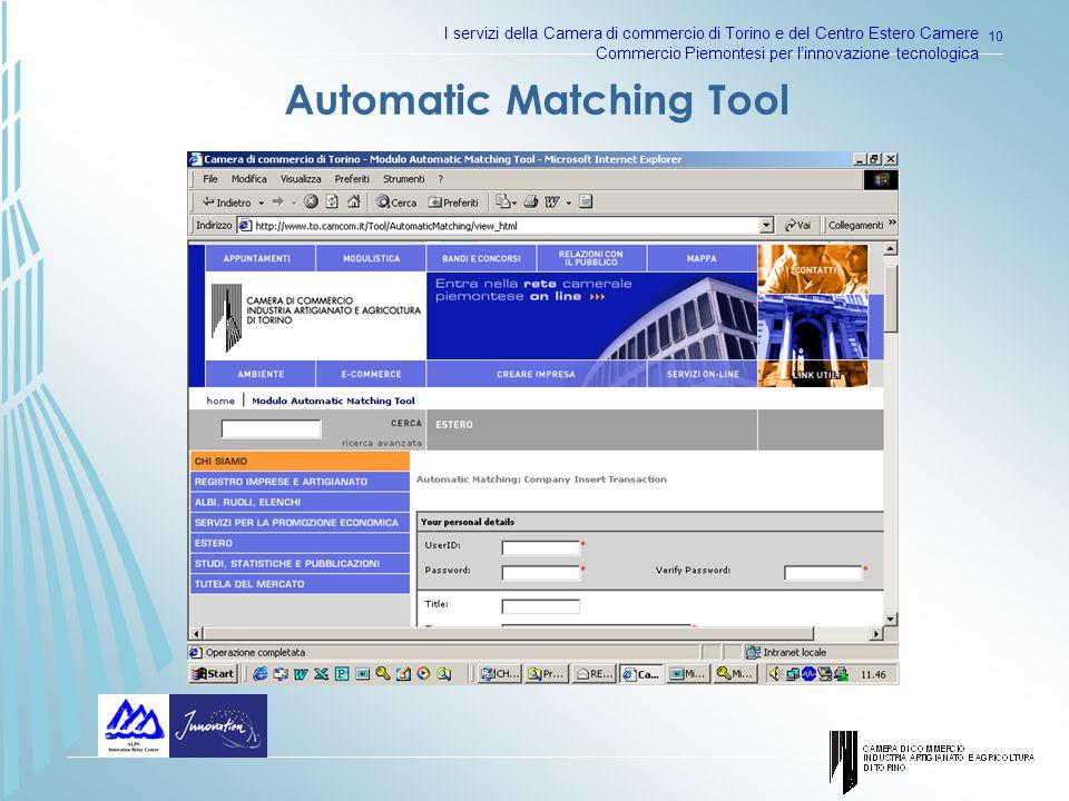 I servizi della Camera di commercio di Torino e del Centro Estero Camere Commercio Piemontesi per linnovazione tecnologica 10 Automatic Matching Tool