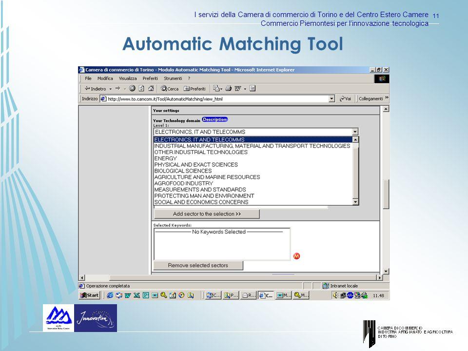 I servizi della Camera di commercio di Torino e del Centro Estero Camere Commercio Piemontesi per linnovazione tecnologica 11 Automatic Matching Tool