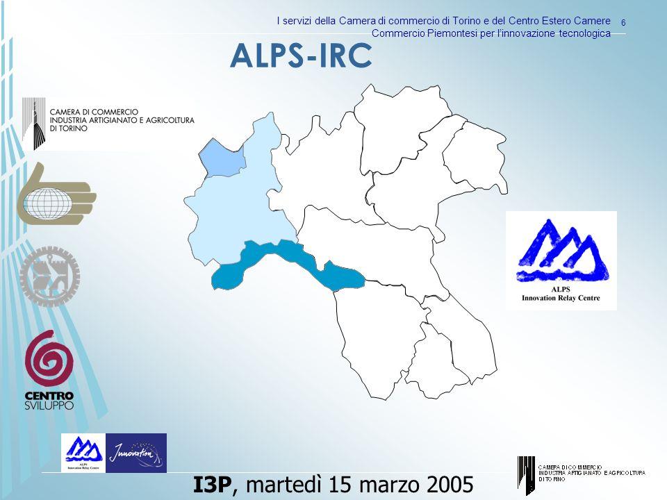 I servizi della Camera di commercio di Torino e del Centro Estero Camere Commercio Piemontesi per linnovazione tecnologica 6 ALPS-IRC I3P, martedì 15 marzo 2005