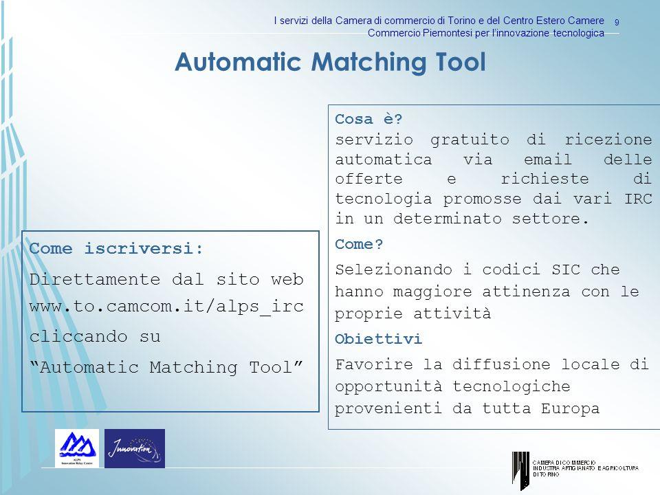 I servizi della Camera di commercio di Torino e del Centro Estero Camere Commercio Piemontesi per linnovazione tecnologica 9 Cosa è.