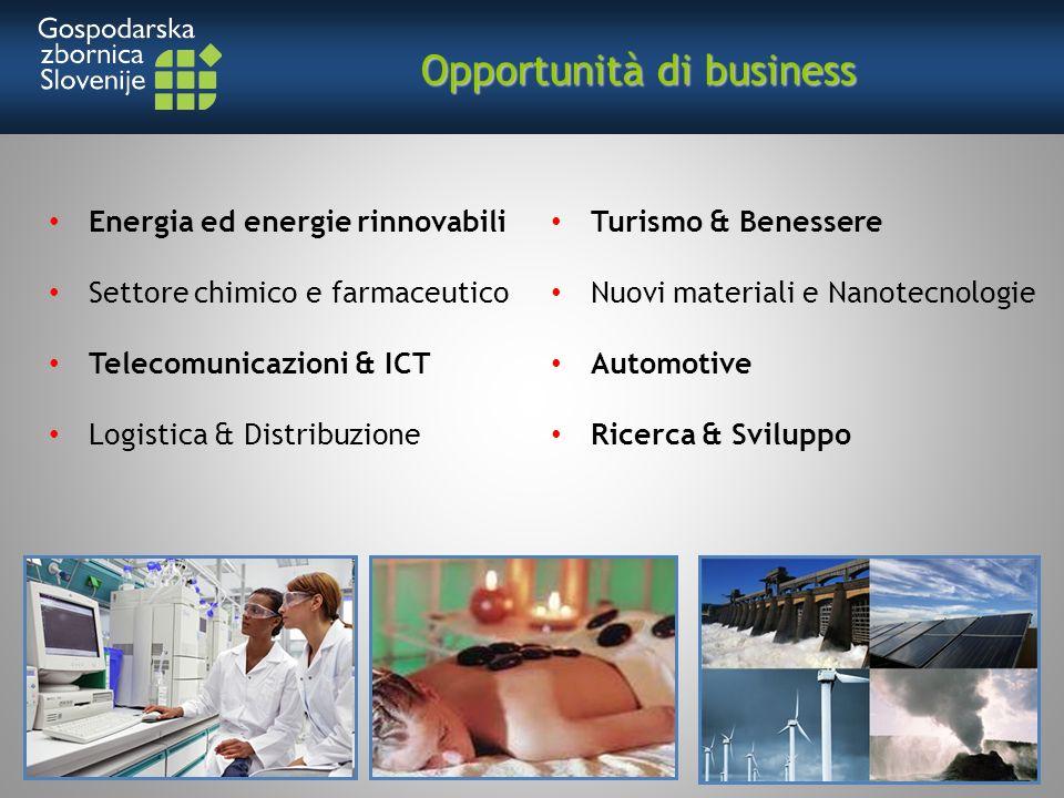 Energia ed energie rinnovabili Settore chimico e farmaceutico Telecomunicazioni & ICT Logistica & Distribuzione Turismo & Benessere Nuovi materiali e Nanotecnologie Automotive Ricerca & Sviluppo Opportunità di business Opportunità di business