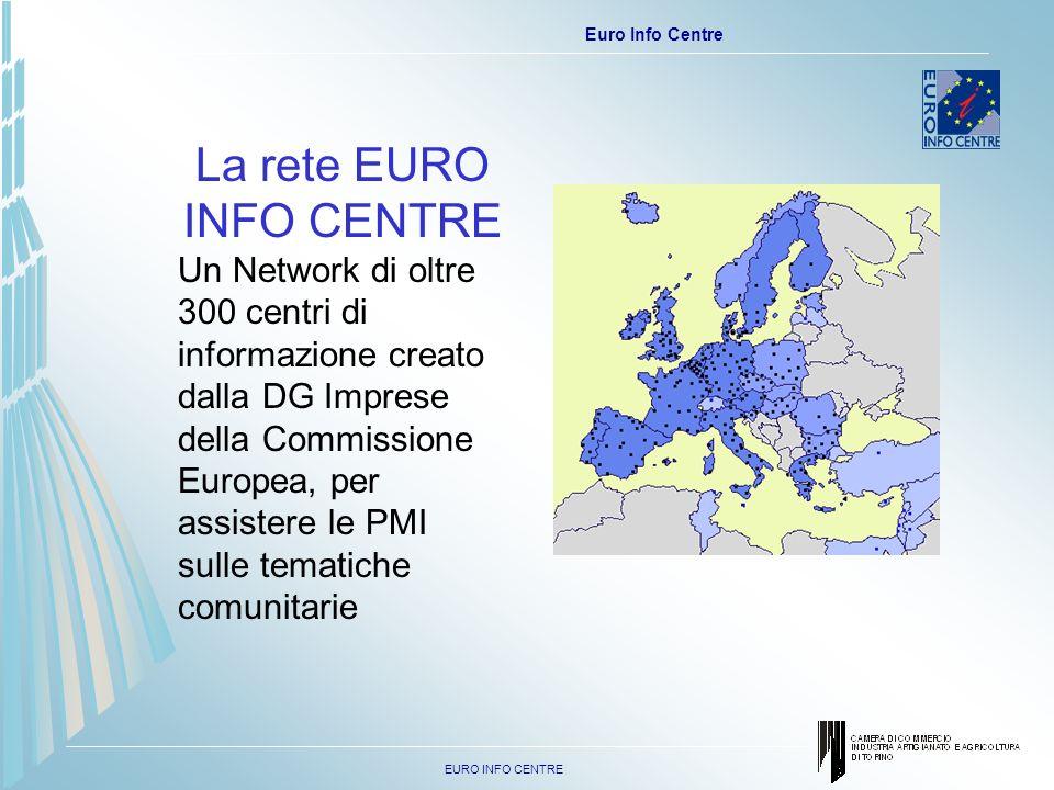 EURO INFO CENTRE Euro Info Centre La rete EURO INFO CENTRE Un Network di oltre 300 centri di informazione creato dalla DG Imprese della Commissione Europea, per assistere le PMI sulle tematiche comunitarie