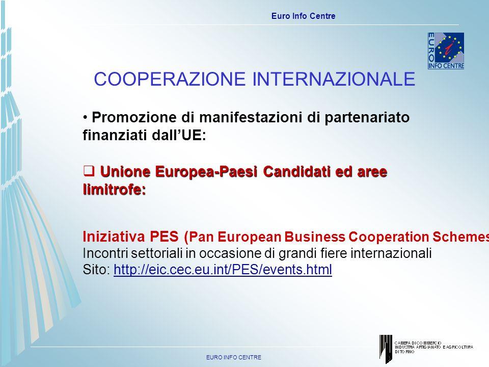 EURO INFO CENTRE Euro Info Centre COOPERAZIONE INTERNAZIONALE Promozione di manifestazioni di partenariato finanziati dallUE: Unione Europea-Paesi Candidati ed aree limitrofe: Unione Europea-Paesi Candidati ed aree limitrofe: Iniziativa PES ( Pan European Business Cooperation Schemes): Incontri settoriali in occasione di grandi fiere internazionali Sito: http://eic.cec.eu.int/PES/events.html