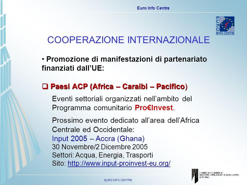 EURO INFO CENTRE Euro Info Centre Eventi settoriali organizzati nellambito del Programma comunitario ProInvest.