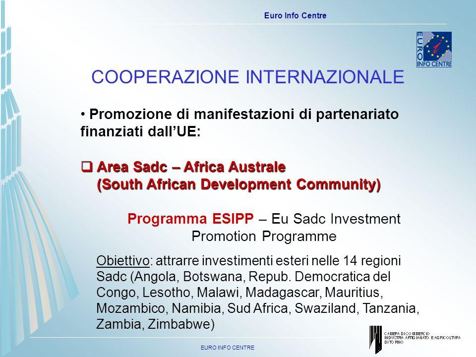 EURO INFO CENTRE Euro Info Centre Programma ESIPP – Eu Sadc Investment Promotion Programme Obiettivo: attrarre investimenti esteri nelle 14 regioni Sadc (Angola, Botswana, Repub.