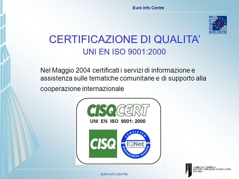 EURO INFO CENTRE Euro Info Centre CERTIFICAZIONE DI QUALITA UNI EN ISO 9001:2000 Nel Maggio 2004 certificati i servizi di informazione e assistenza sulle tematiche comunitarie e di supporto alla cooperazione internazionale