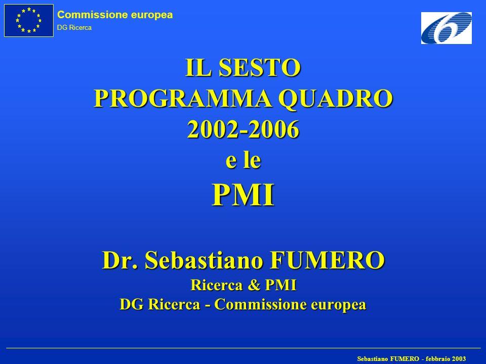 Commissione europea DG Ricerca Sebastiano FUMERO - febbraio 2003 IL SESTO PROGRAMMA QUADRO 2002-2006 e le PMI Dr. Sebastiano FUMERO Ricerca & PMI DG R