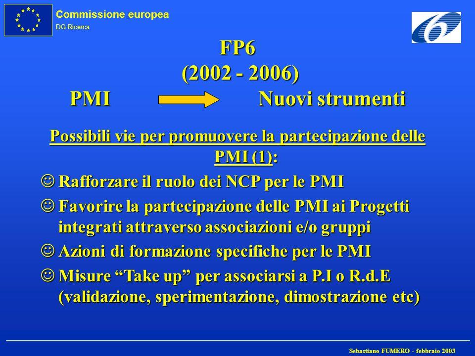 Commissione europea DG Ricerca Sebastiano FUMERO - febbraio 2003 FP6 (2002 - 2006) PMI Nuovi strumenti Possibili vie per promuovere la partecipazione