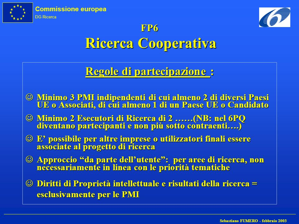 Commissione europea DG Ricerca Sebastiano FUMERO - febbraio 2003 FP6 Ricerca Cooperativa Regole di partecipazione : JMinimo 3 PMI indipendenti di cui