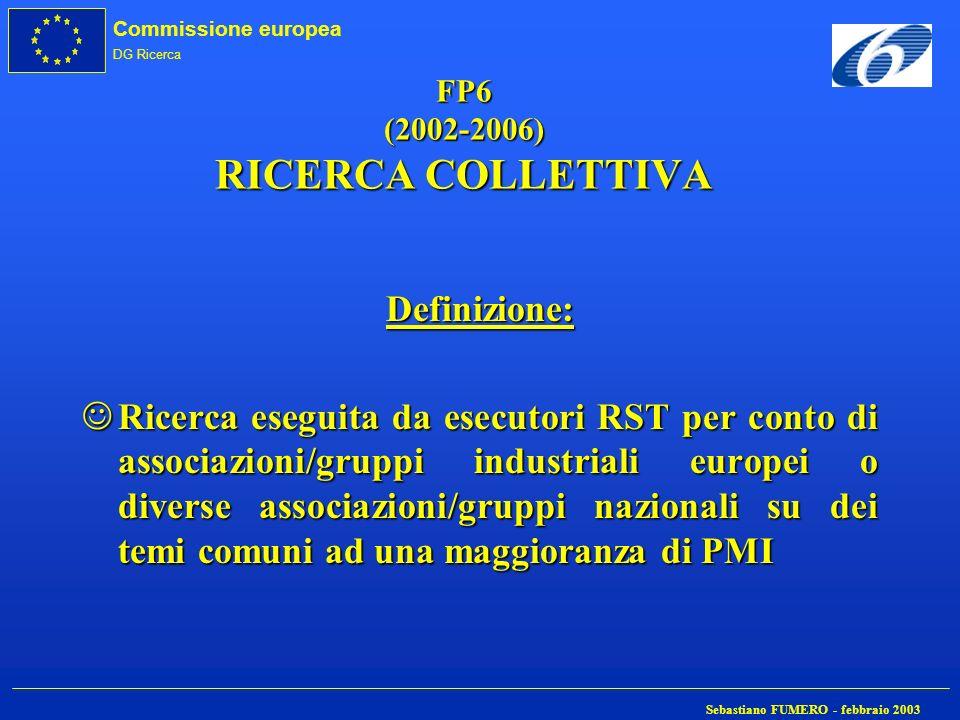 Commissione europea DG Ricerca Sebastiano FUMERO - febbraio 2003 FP6 (2002-2006) RICERCA COLLETTIVA Definizione: JRicerca eseguita da esecutori RST pe