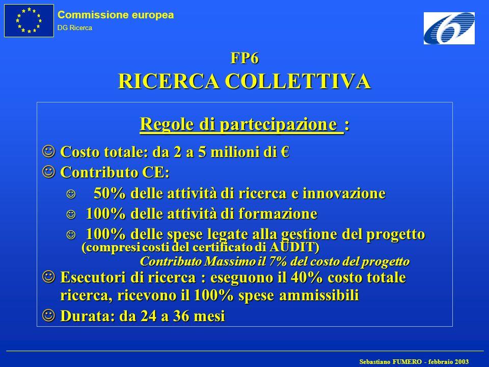 Commissione europea DG Ricerca Sebastiano FUMERO - febbraio 2003 FP6 RICERCA COLLETTIVA Regole di partecipazione : JCosto totale: da 2 a 5 milioni di
