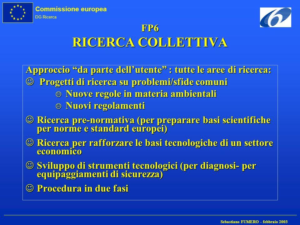 Commissione europea DG Ricerca Sebastiano FUMERO - febbraio 2003 FP6 RICERCA COLLETTIVA Approccio da parte dellutente : tutte le aree di ricerca: J Pr