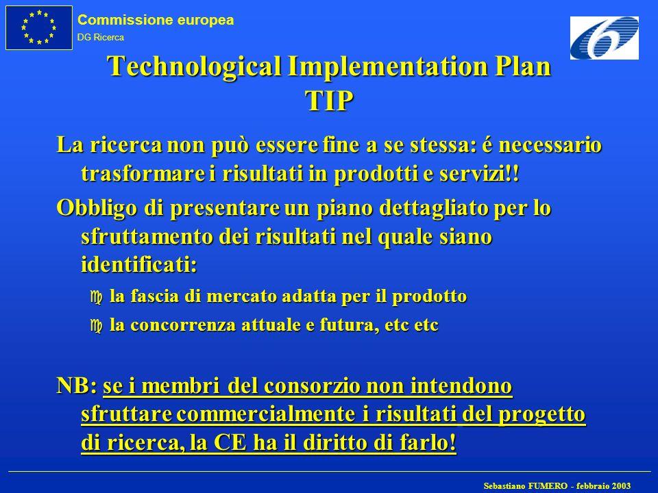Commissione europea DG Ricerca Sebastiano FUMERO - febbraio 2003 Technological Implementation Plan TIP La ricerca non può essere fine a se stessa: é n