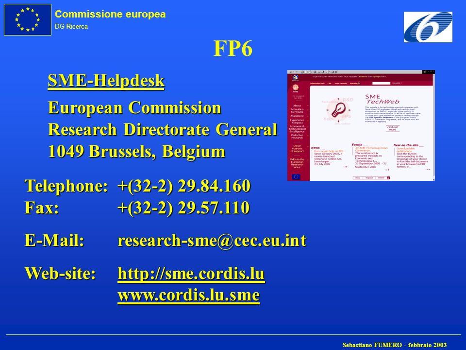 Commissione europea DG Ricerca Sebastiano FUMERO - febbraio 2003 FP6 SME-Helpdesk European Commission Research Directorate General 1049 Brussels, Belg