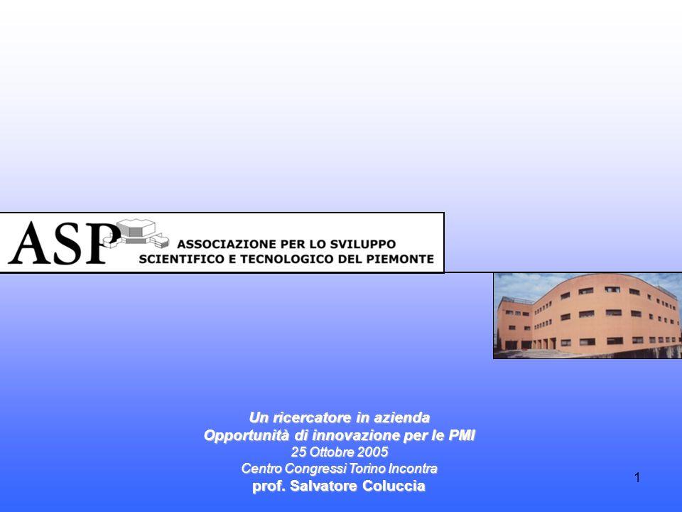 1 Un ricercatore in azienda Opportunità di innovazione per le PMI 25 Ottobre 2005 Centro Congressi Torino Incontra prof.