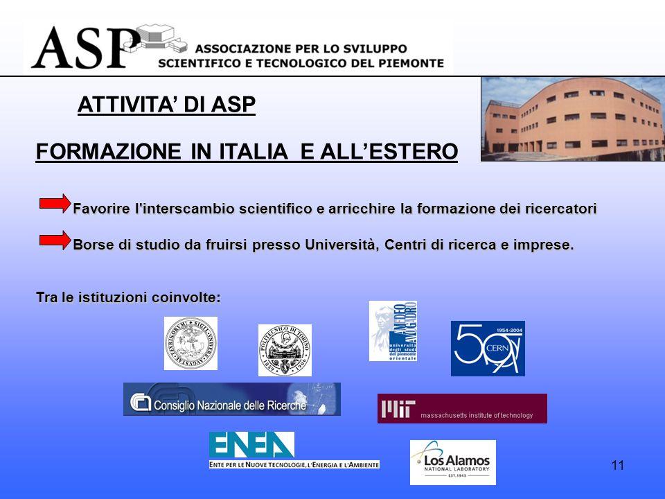 11 FORMAZIONE IN ITALIA E ALLESTERO Favorire l interscambio scientifico e arricchire la formazione dei ricercatori Favorire l interscambio scientifico e arricchire la formazione dei ricercatori Borse di studio da fruirsi presso Università, Centri di ricerca e imprese.