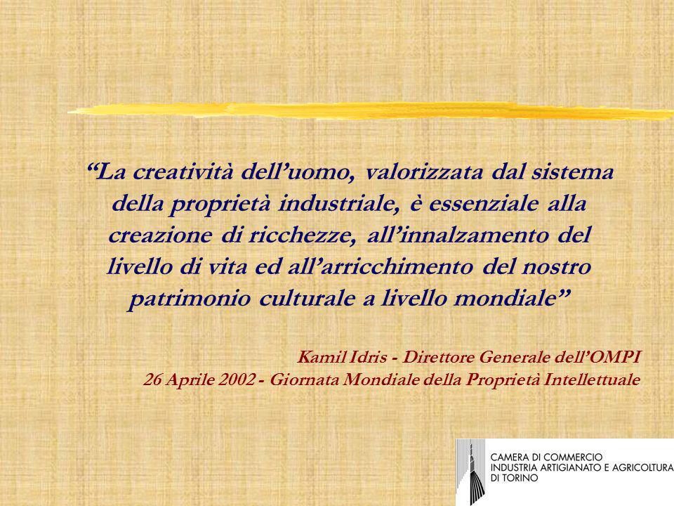 Kamil Idris - Direttore Generale dellOMPI 26 Aprile 2002 - Giornata Mondiale della Proprietà Intellettuale La creatività delluomo, valorizzata dal sistema della proprietà industriale, è essenziale alla creazione di ricchezze, allinnalzamento del livello di vita ed allarricchimento del nostro patrimonio culturale a livello mondiale