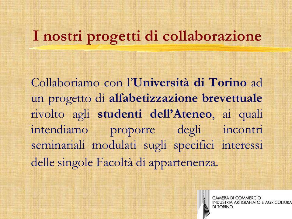 Collaboriamo con lUniversità di Torino ad un progetto di alfabetizzazione brevettuale rivolto agli studenti dellAteneo, ai quali intendiamo proporre degli incontri seminariali modulati sugli specifici interessi delle singole Facoltà di appartenenza.