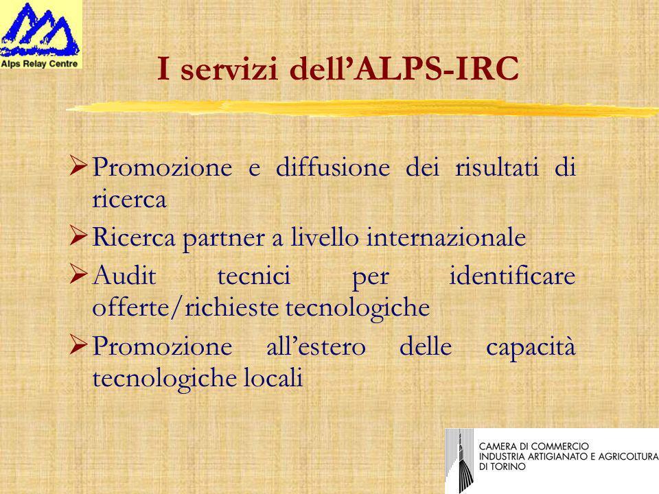 I servizi dellALPS-IRC ØPromozione e diffusione dei risultati di ricerca ØRicerca partner a livello internazionale ØAudit tecnici per identificare offerte/richieste tecnologiche Promozione allestero delle capacità tecnologiche locali