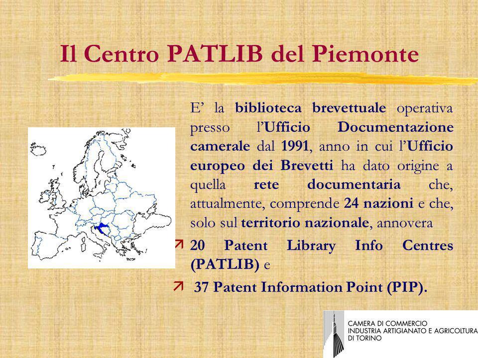Il Centro PATLIB del Piemonte E la biblioteca brevettuale operativa presso lUfficio Documentazione camerale dal 1991, anno in cui lUfficio europeo dei Brevetti ha dato origine a quella rete documentaria che, attualmente, comprende 24 nazioni e che, solo sul territorio nazionale, annovera ä20 Patent Library Info Centres (PATLIB) e ä 37 Patent Information Point (PIP).