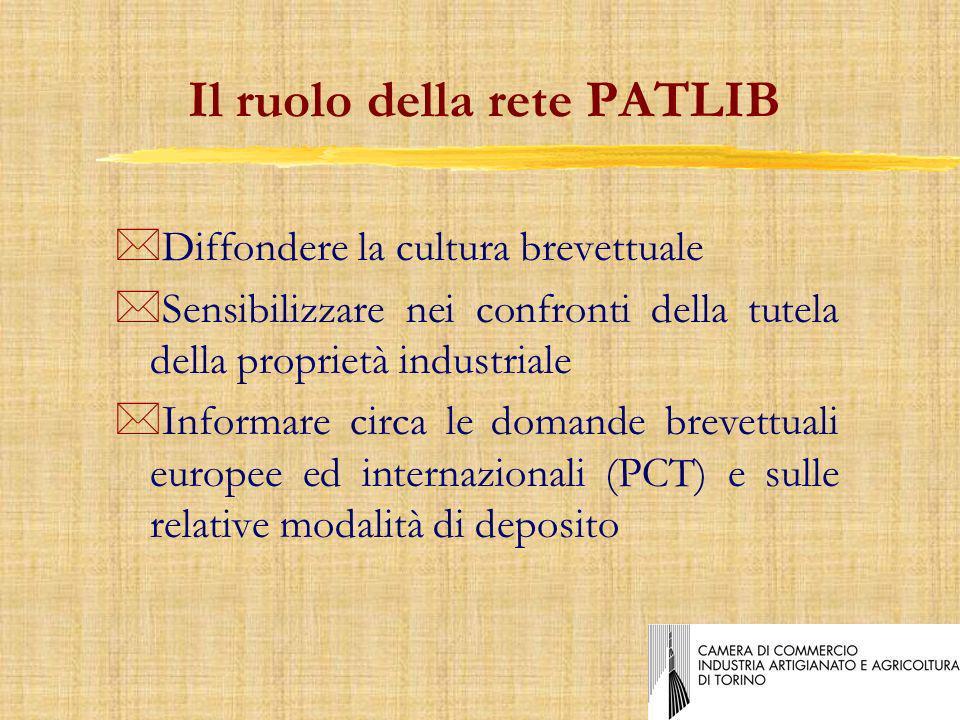 Il ruolo della rete PATLIB *Diffondere la cultura brevettuale *Sensibilizzare nei confronti della tutela della proprietà industriale *Informare circa le domande brevettuali europee ed internazionali (PCT) e sulle relative modalità di deposito