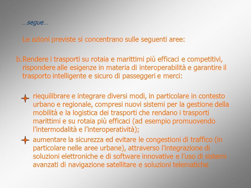 Le azioni previste si concentrano sulle seguenti aree: Rendere i trasporti su rotaia e marittimi più efficaci e competitivi, rispondere alle esigenze