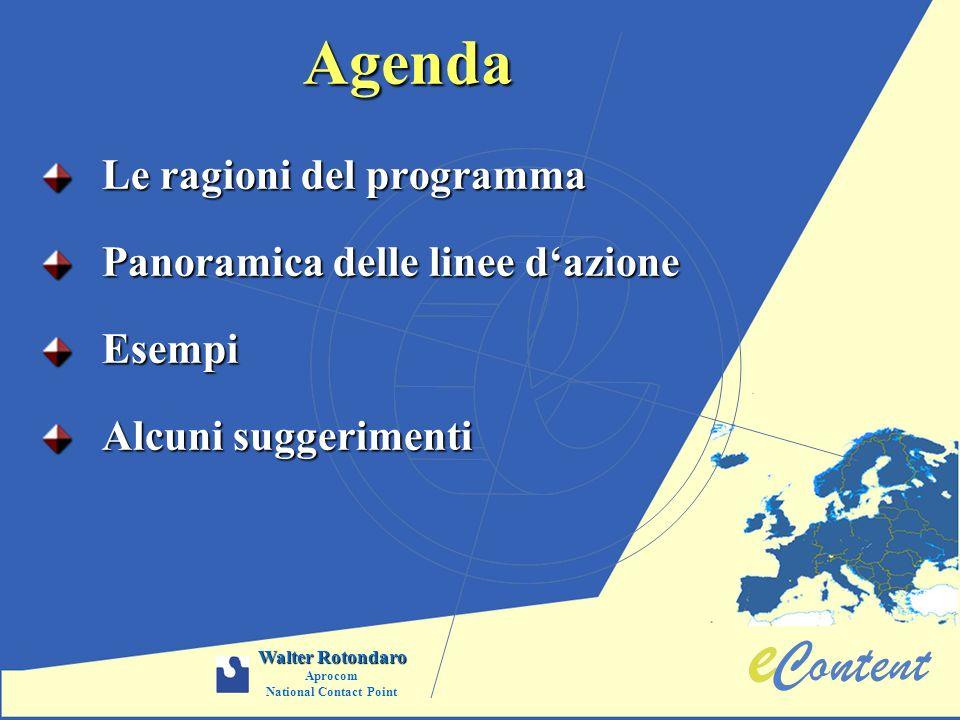 Agenda Le ragioni del programma Panoramica delle linee dazione Esempi Alcuni suggerimenti Walter Rotondaro Aprocom National Contact Point
