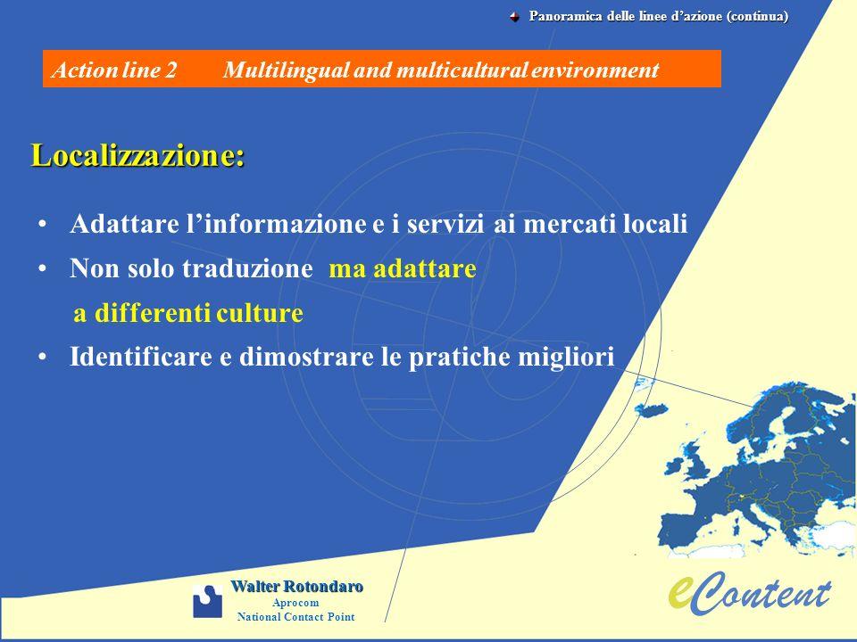 Localizzazione: Adattare linformazione e i servizi ai mercati locali Non solo traduzione ma adattare a differenti culture Identificare e dimostrare le