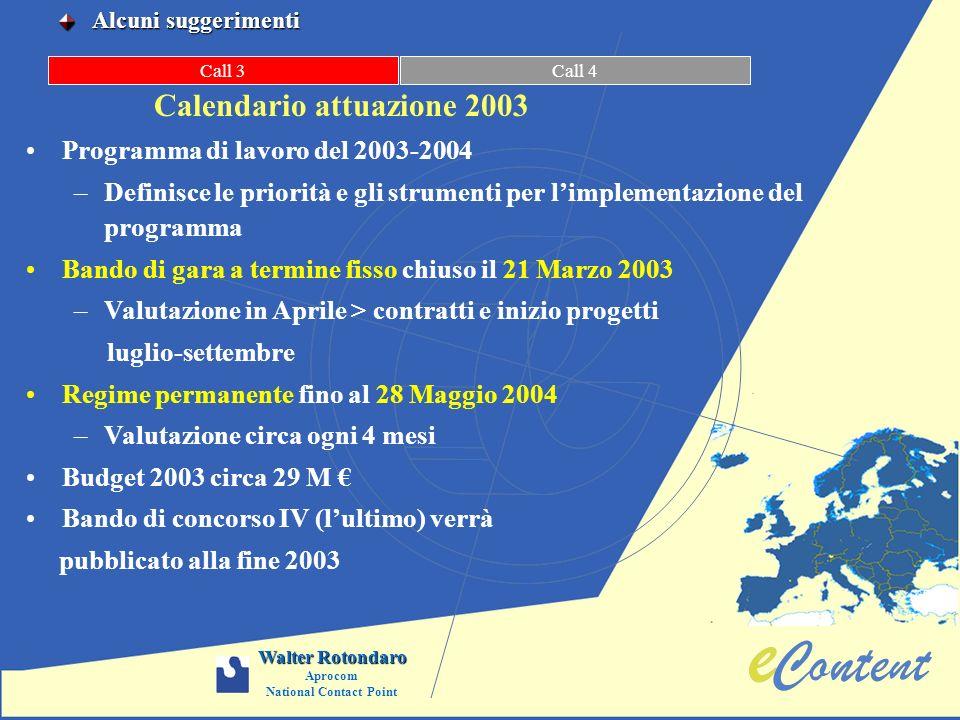 Call 3Call 4 Calendario attuazione 2003 Programma di lavoro del 2003-2004 –Definisce le priorità e gli strumenti per limplementazione del programma Ba