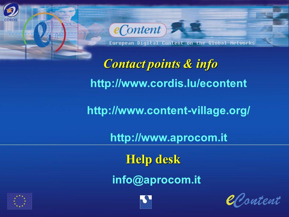 Contact points & info http://www.cordis.lu/econtent http://www.content-village.org/ http://www.aprocom.it Help desk info@aprocom.it