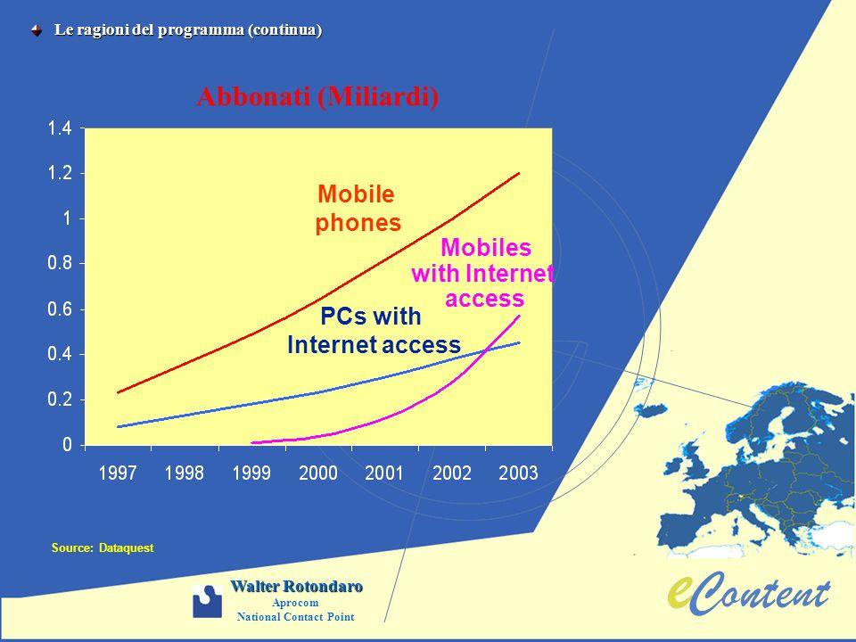 Le ragioni del programma (continua) Le ragioni del programma (continua) Source: Dataquest Mobile phones PCs with Internet access Abbonati (Miliardi) M