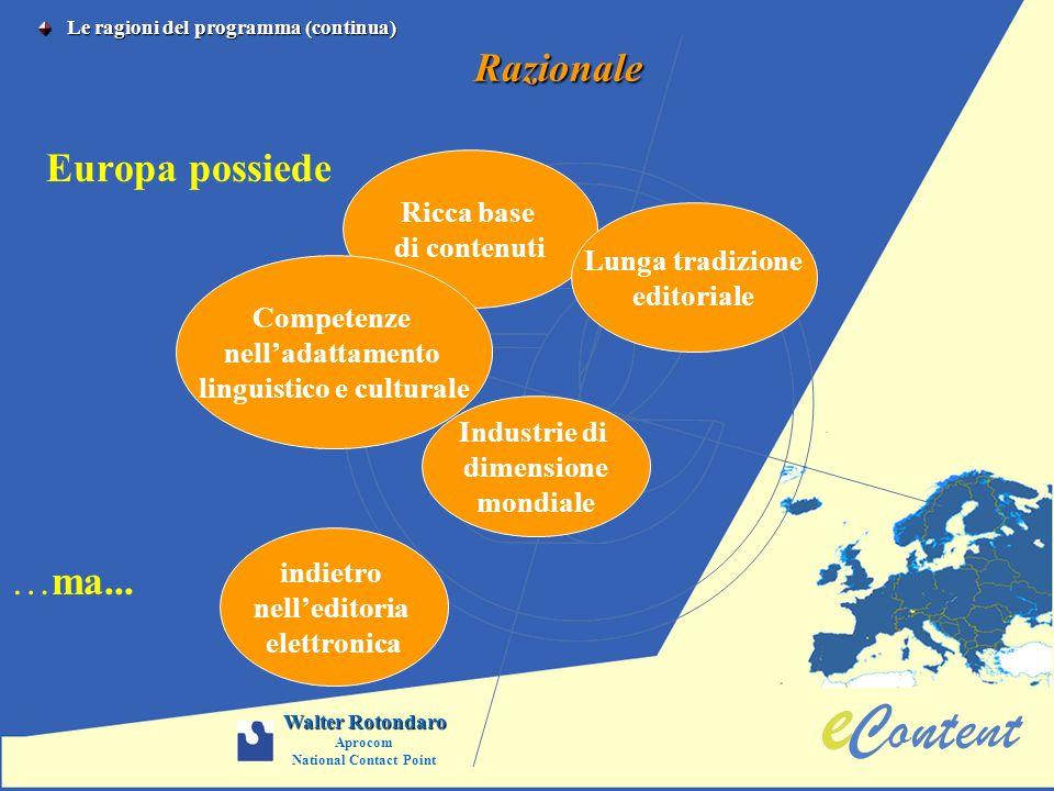 Razionale Europa possiede Ricca base di contenuti Lunga tradizione editoriale Competenze nelladattamento linguistico e culturale Industrie di dimensio