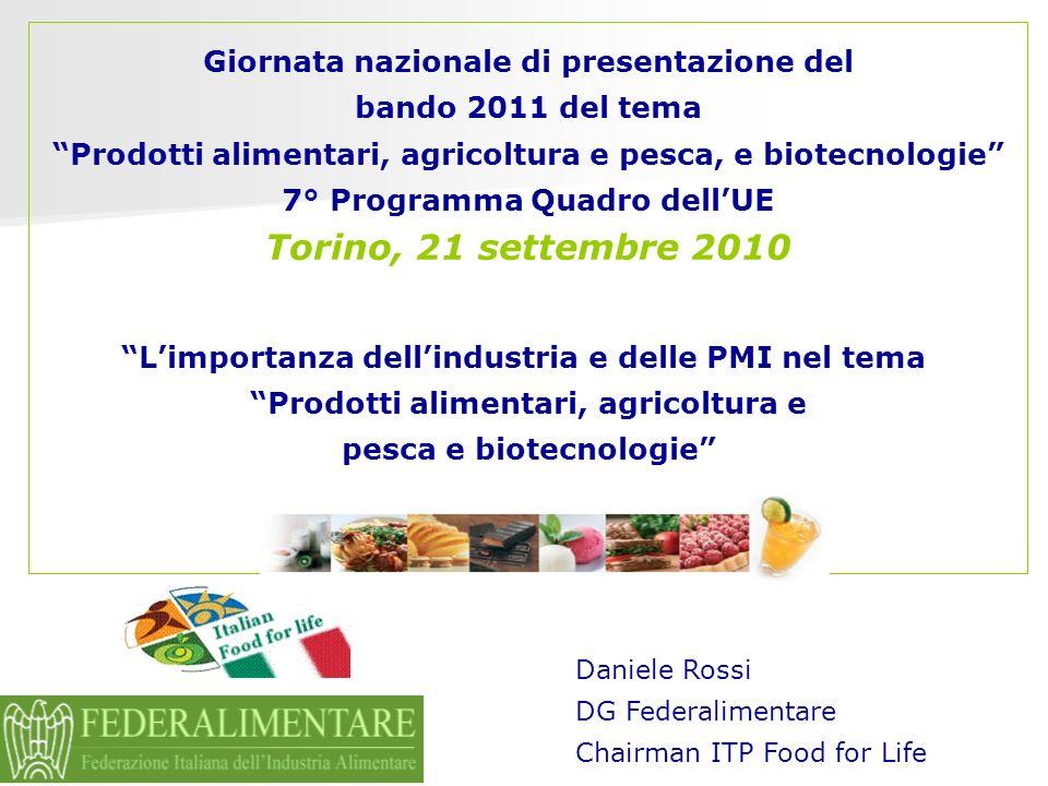 Giornata nazionale di presentazione del bando 2011 del tema Prodotti alimentari, agricoltura e pesca, e biotecnologie 7° Programma Quadro dellUE Torin