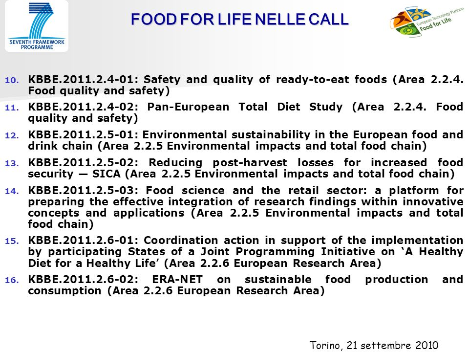 FOOD FOR LIFE NELLE CALL 10. 10.