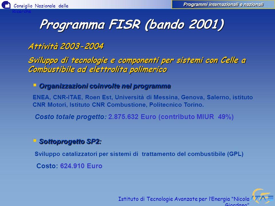 Consiglio Nazionale delle Ricerche Istituto di Tecnologie Avanzate per lEnergia Nicola Giordano Programma FISR (bando 2001) Attività 2003-2004 Svilupp