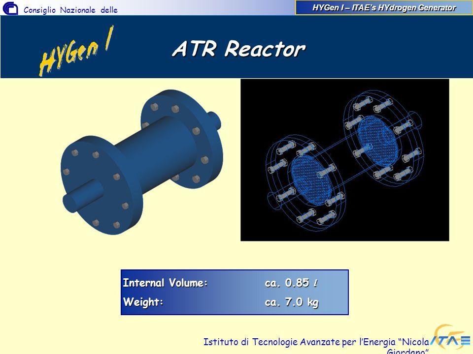 Consiglio Nazionale delle Ricerche Istituto di Tecnologie Avanzate per lEnergia Nicola Giordano ATR Reactor Internal Volume:ca. 0.85 l Weight:ca. 7.0