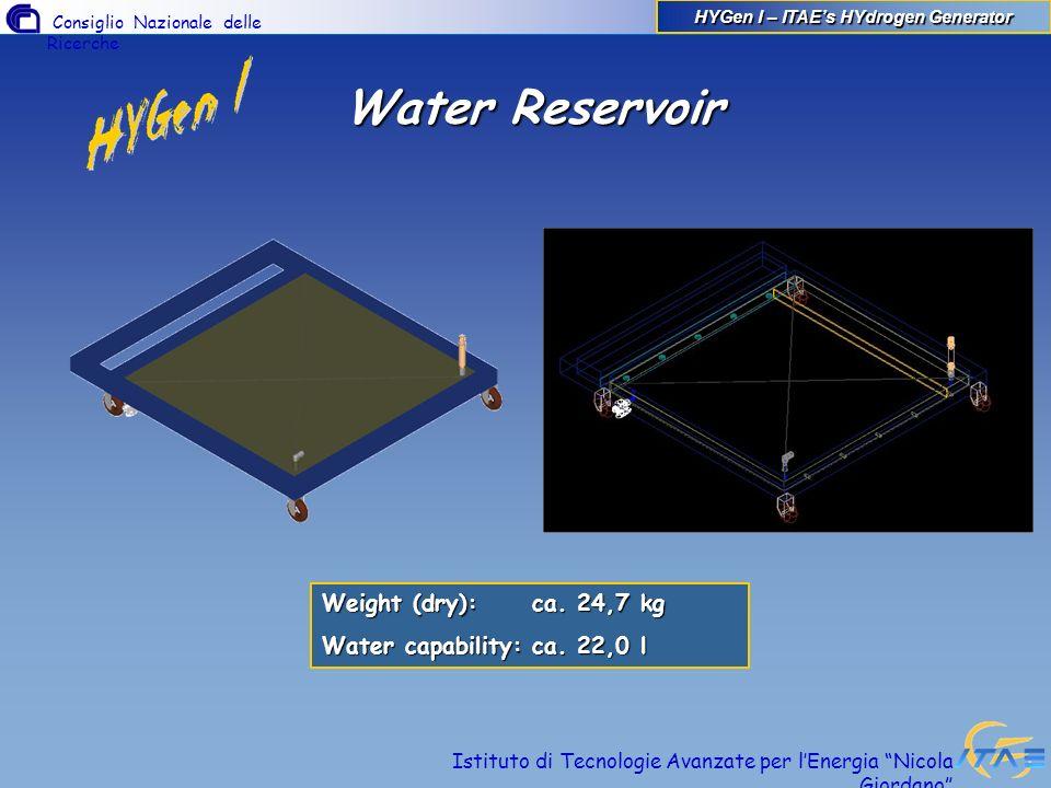 Consiglio Nazionale delle Ricerche Istituto di Tecnologie Avanzate per lEnergia Nicola Giordano Water Reservoir Weight (dry):ca. 24,7 kg Water capabil