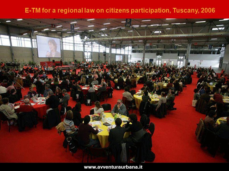 Avventura Urbana per il progetto Parterre E-TM for a regional law on citizens participation, Tuscany, 2006 www.avventuraurbana.it