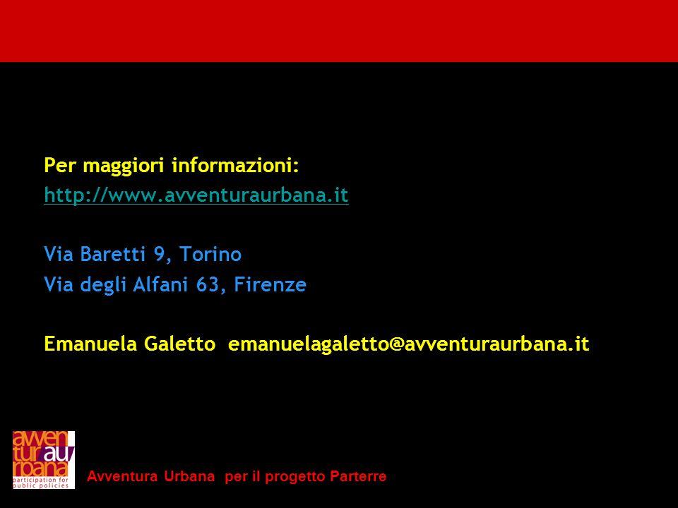 Avventura Urbana per il progetto Parterre Per maggiori informazioni: http://www.avventuraurbana.it Via Baretti 9, Torino Via degli Alfani 63, Firenze