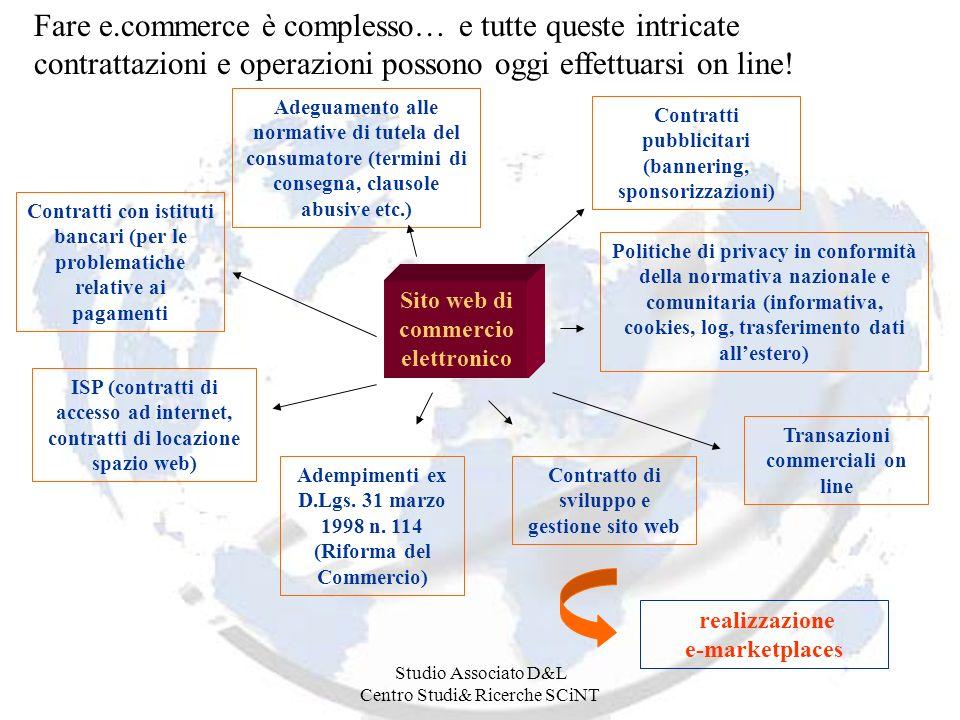Studio Associato D&L Centro Studi& Ricerche SCiNT Fare e.commerce è complesso… e tutte queste intricate contrattazioni e operazioni possono oggi effettuarsi on line.