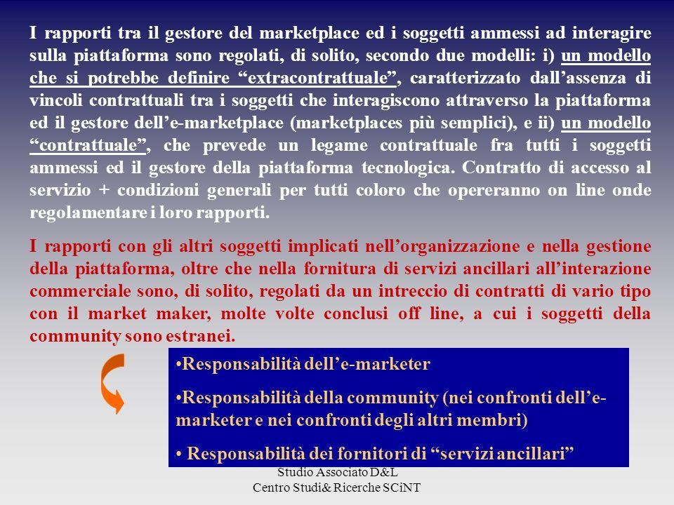 Studio Associato D&L Centro Studi& Ricerche SCiNT I rapporti tra il gestore del marketplace ed i soggetti ammessi ad interagire sulla piattaforma sono