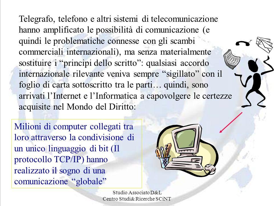 Studio Associato D&L Centro Studi& Ricerche SCiNT Telegrafo, telefono e altri sistemi di telecomunicazione hanno amplificato le possibilità di comunic