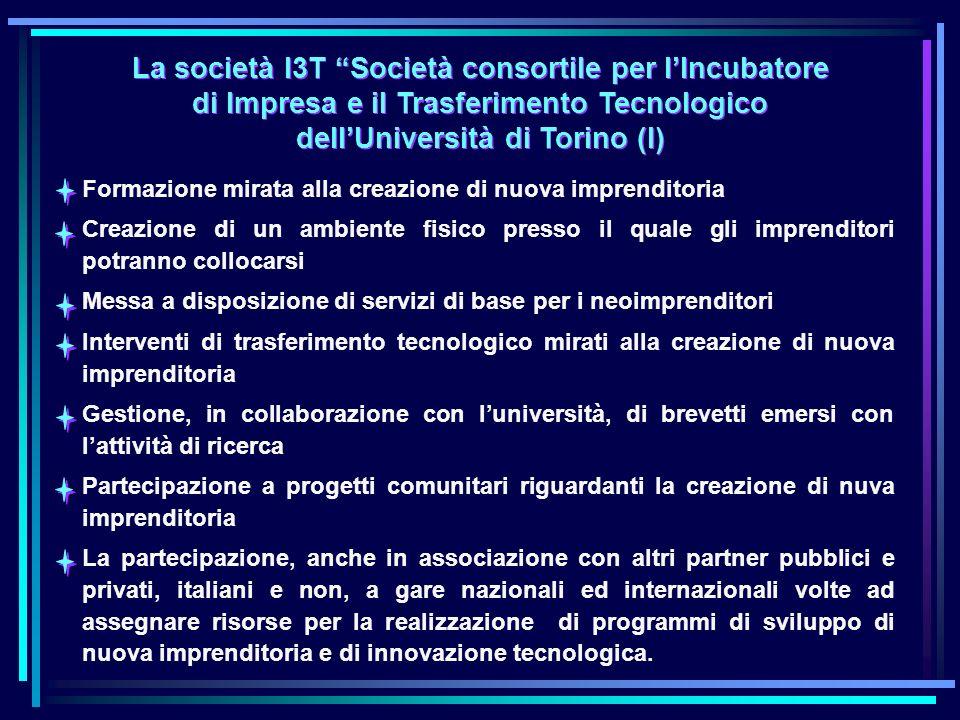 La società I3T Società consortile per lIncubatore di Impresa e il Trasferimento Tecnologico dellUniversità di Torino (I) La società I3T Società consortile per lIncubatore di Impresa e il Trasferimento Tecnologico dellUniversità di Torino (I) Formazione mirata alla creazione di nuova imprenditoria Creazione di un ambiente fisico presso il quale gli imprenditori potranno collocarsi Messa a disposizione di servizi di base per i neoimprenditori Interventi di trasferimento tecnologico mirati alla creazione di nuova imprenditoria Gestione, in collaborazione con luniversità, di brevetti emersi con lattività di ricerca Partecipazione a progetti comunitari riguardanti la creazione di nuva imprenditoria La partecipazione, anche in associazione con altri partner pubblici e privati, italiani e non, a gare nazionali ed internazionali volte ad assegnare risorse per la realizzazione di programmi di sviluppo di nuova imprenditoria e di innovazione tecnologica.