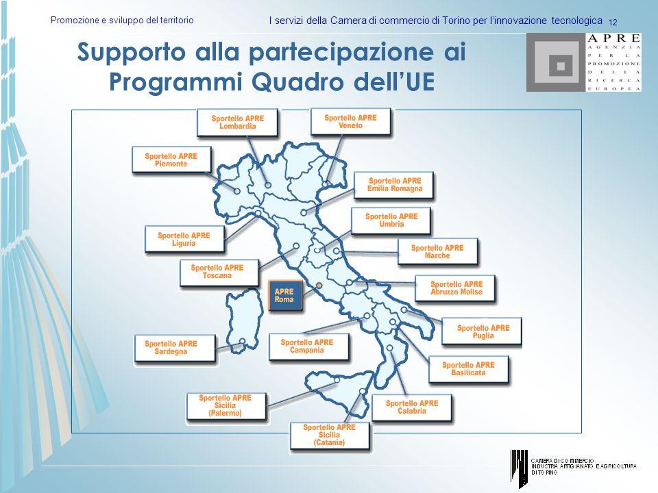 Promozione e sviluppo del territorio I servizi della Camera di commercio di Torino per linnovazione tecnologica 12 Supporto alla partecipazione ai Programmi Quadro dellUE