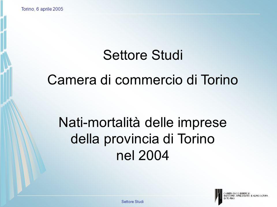 Settore Studi Torino, 6 aprile 2005 Schema di analisi Area di contrazione Area di forte turn-over Area di consolidamento Area di espansione Tasso di natalità Tasso di mortalità 0 Interpretazione grafici