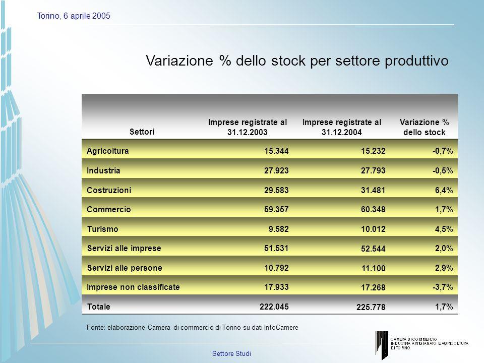 Settore Studi Torino, 6 aprile 2005 Variazione % dello stock per settore produttivo Settori Imprese registrate al 31.12.2003 Imprese registrate al 31.12.2004 Variazione % dello stock Agricoltura15.34415.232-0,7% Industria27.92327.793-0,5% Costruzioni29.58331.4816,4% Commercio59.35760.3481,7% Turismo9.58210.0124,5% Servizi alle imprese51.53152.5442,0% Servizi alle persone10.79211.1002,9% Imprese non classificate17.93317.268-3,7% Totale222.045225.7781,7% Fonte: elaborazione Camera di commercio di Torino su dati InfoCamere