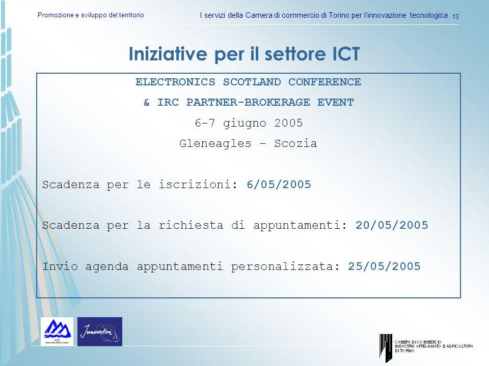 Promozione e sviluppo del territorio I servizi della Camera di commercio di Torino per linnovazione tecnologica 13 Iniziative per il settore ICT ELECT